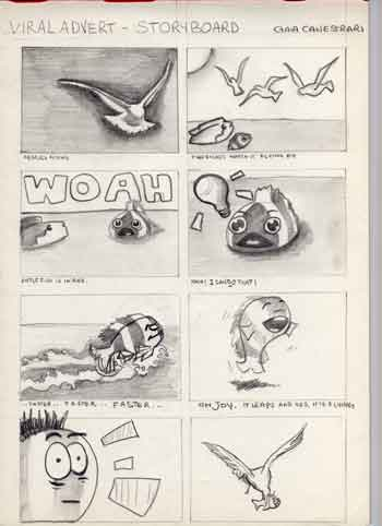 storyboard, hand-drawn: a fish sees a seagull and wants to fly, tries to fly, leaps and is caught by the same seagull whih inspired him. The drawings are cartoonish